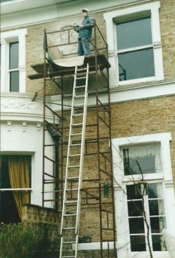 on wobbly scaffolding
