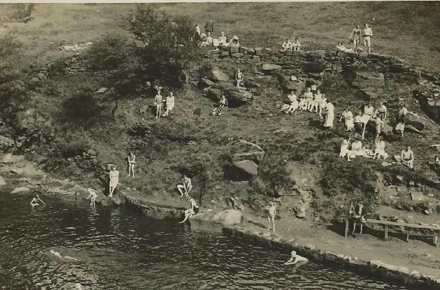 the bathing pool in summer