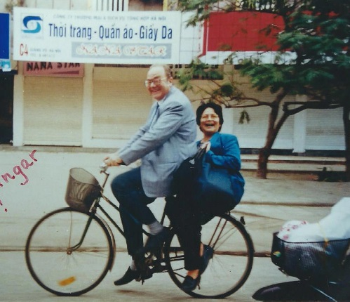 two cyclists in hanoi